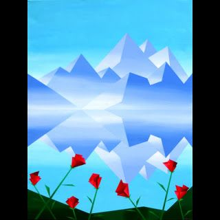 Mark Webster - Abstract Rocky Mountain Lake Reflection with Red Flowers Abstract Painting
