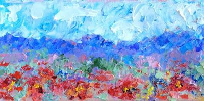 "Palette Knife Impressionist Landscape Flower Painting ""Poppies in View"" by Colorado Impressionist Judith Babcock"