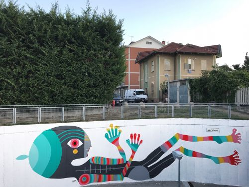 """On Game"" by Gio Pistone in Pinerolo, Italy for StreetAlps festival"