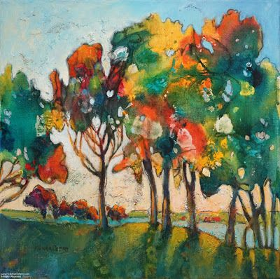 "Colorful Contemporary Landscape Painting, Abstract Landscape, Autumn Trees ""JOY"" by Passionate Purposeful Painter Holly Hunter Berry"