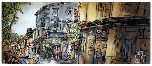 Sketching at Kampong Glam, Singapore with an unlikely visitor from Hong Kong
