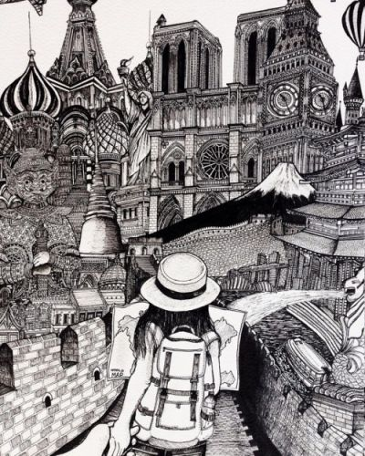 Detailed drawings by Emi NakajimaJapanese artist from Thailand