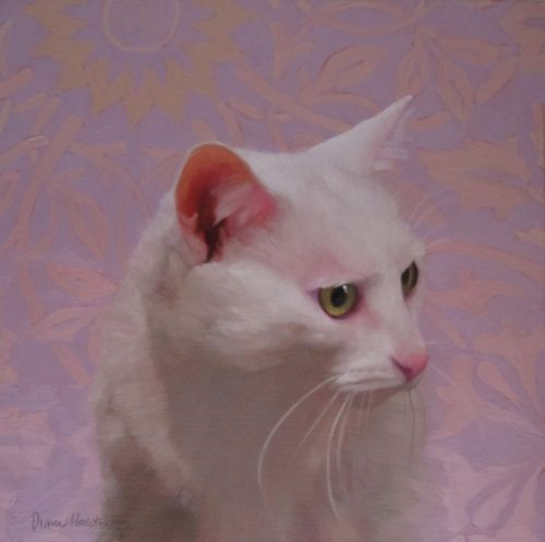 Felicity painting of a white cat