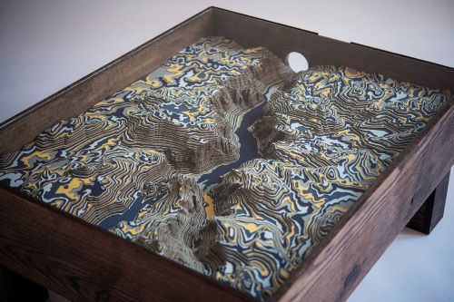 A Topographic Table Presents a Sculptural Interpretation of Yosemite Valley in Blue, Yellow, and Gray