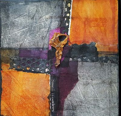 "Mixed Media, Contemporary Abstract Art ""CANYON LAND 2"" by Contemporary Artist Gerri Calpin"