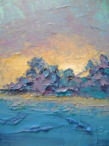 Island Sunset Abstract Landscape Oil Painting, Daily Painting, Small Oil Painting, Textured Palette Knife Art