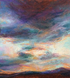 "AN EVENING OF BLUES - 5.25"" x 5"" pastel sunset by Susan Roden"