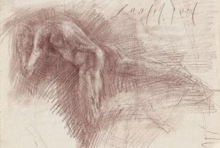 Old Master's style Male nude red chalk drawing
