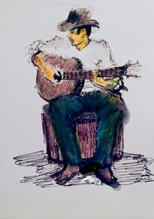 Guitarist Doodle - mixed media cowboy drawing