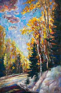 """Bend Ahead"" - New Colorado Aspen Painting by Contemporary Impressionist Niki Gulley"
