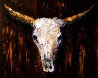 Mark Webster - Cow Skull - Textured Palette Knife Acrylic Painting