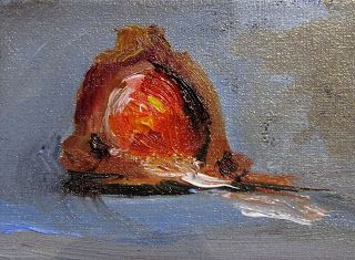 Chocolate Covered Cherry miniature oil painitng