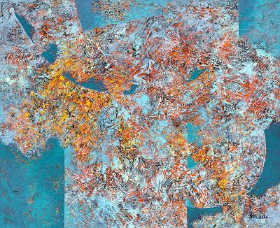 """Large abstract, contemporary, modern art painting, """"Can't Fix Wild"""" by California artist Nancy Eckels"""