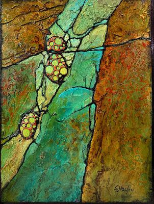 "Green Art, Geologic Abstract Fine Art Print ""Alien Forms"" by Colorado Mixed Media Artist Carol Nelson Fine Art"