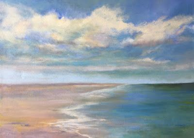 "Large Oil Seascape, ""Beach,"" by Amy Whitehouse"