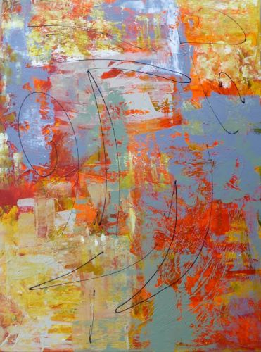 Abstract Painting Workshop with Carolyn Riegelman in Denton Texas by Nancy Standlee Texas Artist