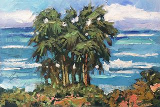 COASTAL SEASCAPE, PALM TREES by TOM BROWN