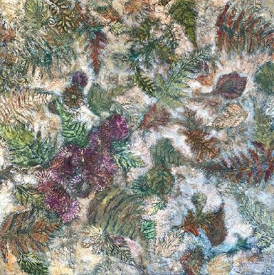 """Botanical Abstract Painting,Textured Art, Mixed Media Fine Art For Sale """"First Frost"""" by Contemporary Artist Liz Thoresen"""