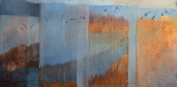 'bosque birdsong' contemporary abstract winter landscape painting by dawn chandler