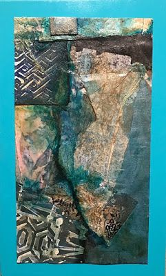 "Mixed Media Abstract Art, Contemporary Painting, Collage,""Blue Walls in the Canyon"" by Florida Contemporary Artist Mary Ann Ziegler"