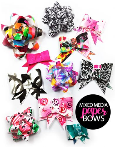 Mixed media paper bows