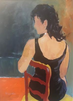 Contemporary Female Figurative Painting, Expressionist Figure, Little Black Dress