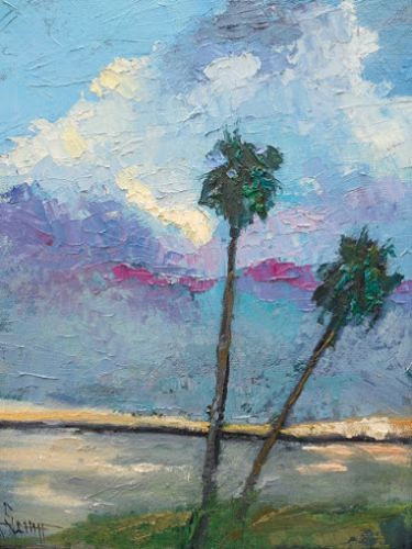 Coastal Home Decor, Tropical Landscape Art, Palette Knife Painting, Small Oil Painting, Textured Art, 9x12