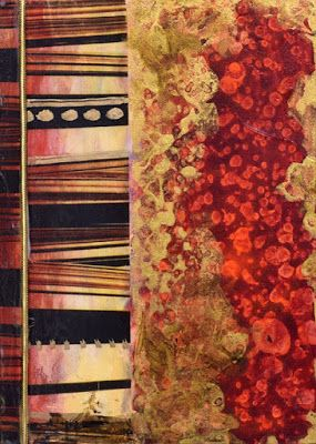 "Red Art,Contemporary Abstract Mixed Media Painting, ""The Gold Cord"" by Santa Fe Contemporary Artist Sandra Duran Wilson"
