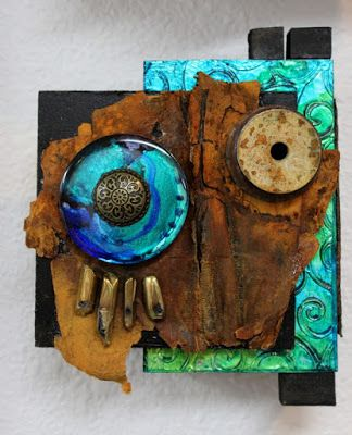 "Mixed Media Assemblage, ""Blue Spirit"" by Carol Nelson Fine Art"