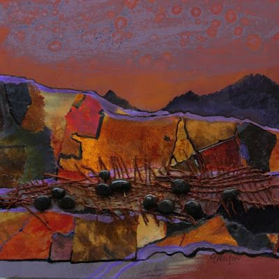 "Mixed Media Southwest Abstract Landscape, ""Tucson Vibe"", by International Mixed Media Abstract Artist Carol Nelson"