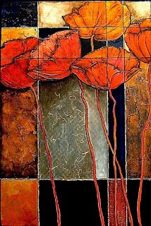 "Contemporary Mixed Media Flower Art Painting ""Patchwork Poppies"" by Colorado Mixed Media Abstract Artist Carol Nelson"