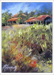 Beyond The Red Flowers..Pastel..Texas Artist..Rae Andrews