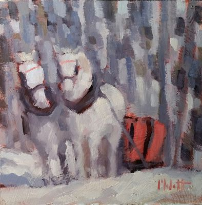 Horse Art Winter Landscape Oil Painting Heidi Malott