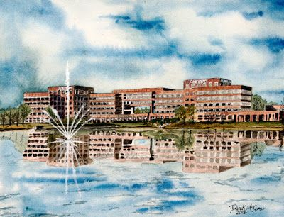Watercolor Paintings of Buildings - Huntsville, AL