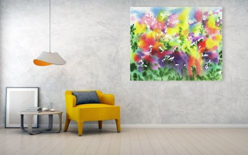 Abstract Vivid Splash Of Color Watercolor Painting for Home Decor