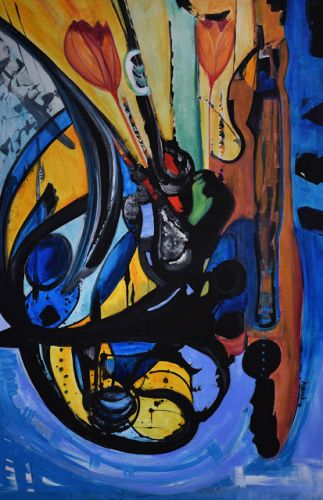 "Abstract Expressionism Art Painting ""The Dancer"" by International Contemporary Abstract Artist Arrachme"