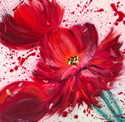 "Holiday Sale,Red Peony, Abstract Flower Painting, Splatter Painting, Fine Art Oil Painting, Vintage Floral ""Dress in RED"" by International Contemporary Artist Kimberly Conrad"