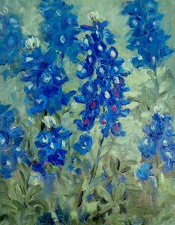 Blue Bloomers, New Contemporary Floral Painting by Sheri Jones