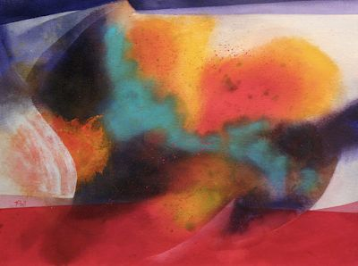 """Contemporary Mixed Media Fine Art Painting on Paper """"KALEIDOSCOPE"""" by Arizona Artist Pat Stacy"""