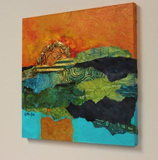 """Mixed media abstract landscape collage, """"Blazing Glory"""", © Carol Nelson Fine Art"""