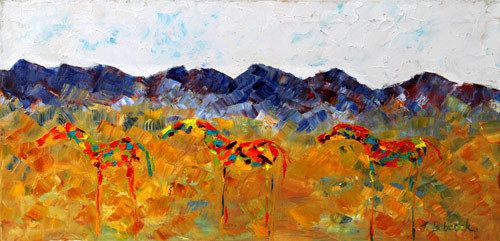 "Original Palette Knife Abstract Horse Painting ""Neigh Neighs Three"" by Colorado Impressionist Judith Babcock"