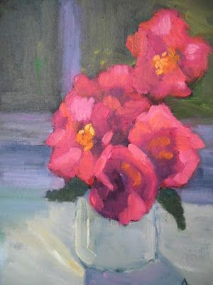 Pink Bouquet Artwork, Small Oil Painting, Daily Painting, 6x8
