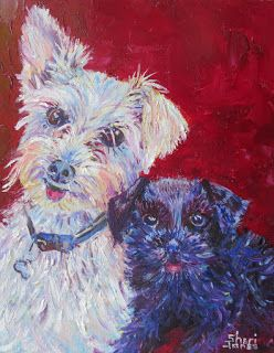 Finn and Snoopy, New Contemporary Pet Portraits by Sheri Jones