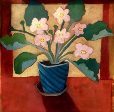 "Contemporary Expressionist Still Life Art Painting ,Flowers, Floral Art ""Little Pink Violets"" by Santa Fe Artist Annie O'Brien Gonzales"