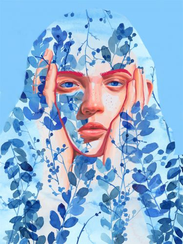 Revealing Struggles and Joy, Expressive Portraits Are Superimposed onto Watercolor Foliage