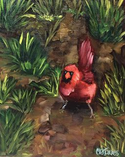 Cardinal Couple, by Melissa A. Torres, 8x10 oil on canvas panels