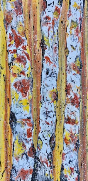 """Aspen Tree Painting,BirchTrees, Abstract Aspens,Autumn Landscape """"Autumn Flurries"""" by Colorado Contemporary Landscape Artist Kimberly Conrad"""