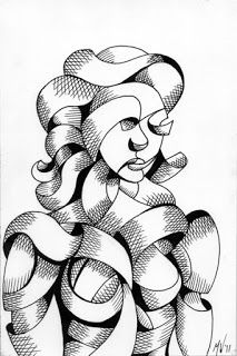 Mark Webster - Untitled Portrait - Abstract Futurist Figurative Ink Drawing