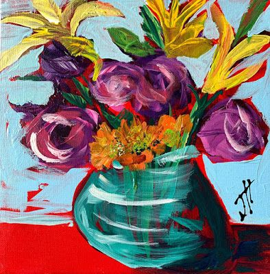 "Expressive Still Live Floral Painting, Colorful Original Flower Art, ""JUST GO BOLD"" by Texas Contemporary Artist Jill Haglund"