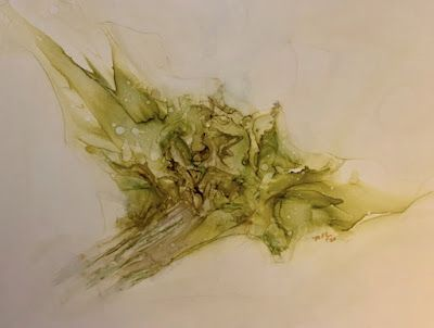 """Alcohol Inks, Abstract Painting, Contemporary Art """"SPEEDING THROUGH SPACE,GREEN"""" by Florida Artist Mary Ann Ziegler"""